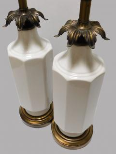 Pair of 1960s White glazed Octagonal Lamps with Bronze Foliate Fittings - 1894351