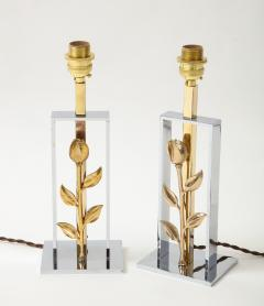 Pair of 1970s Hollywood Regency chrome gilt style table lamps Italy 1970s - 2086370