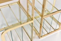 Pair of 1970s Mid Century American brass display shelves room divider - 1096170