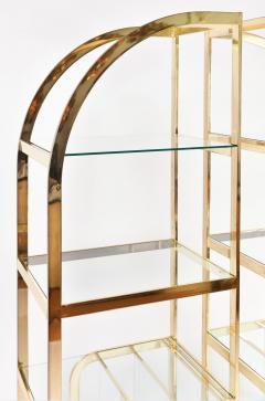 Pair of 1970s Mid Century American brass display shelves room divider - 1096171