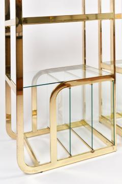 Pair of 1970s Mid Century American brass display shelves room divider - 1096172