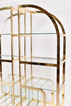 Pair of 1970s Mid Century American brass display shelves room divider - 1096173