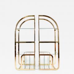 Pair of 1970s Mid Century American brass display shelves room divider - 1096977