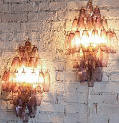 Pair of 1970s Murano Sconces with Amethyst Polyhedron Glass - 914085