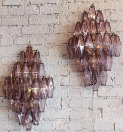 Pair of 1970s Murano Sconces with Amethyst Polyhedron Glass - 914086