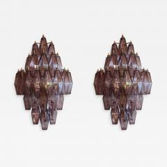 Pair of 1970s Murano Sconces with Amethyst Polyhedron Glass - 915191