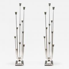 Pair of 1970s Nickel Plated Candleholders with Eleven Cups - 279674
