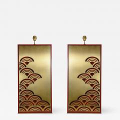 Pair of 1970s tall Lacquered wood lamps - 1076569