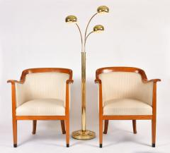 Pair of 1980s English cream and cherry wood occasional chairs - 1578177
