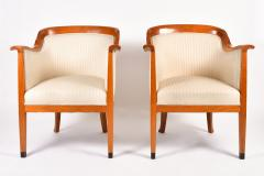 Pair of 1980s English cream and cherry wood occasional chairs - 1578182