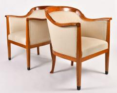 Pair of 1980s English cream and cherry wood occasional chairs - 1578183