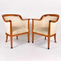 Pair of 1980s English cream and cherry wood occasional chairs - 1578184