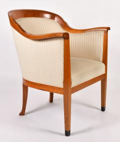 Pair of 1980s English cream and cherry wood occasional chairs - 1578185