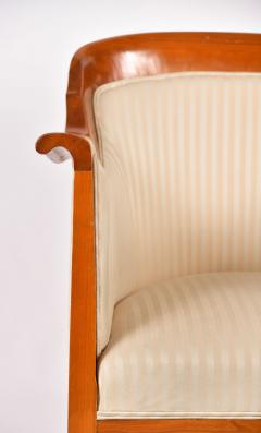 Pair of 1980s English cream and cherry wood occasional chairs - 1578186