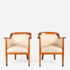 Pair of 1980s English cream and cherry wood occasional chairs - 1580369