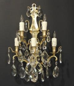 Pair of 19th C Baccarat Quality French Crystal Sconces - 377269
