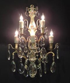 Pair of 19th C Baccarat Quality French Crystal Sconces - 377270