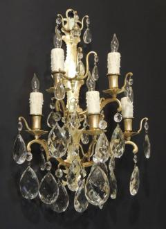 Pair of 19th C Baccarat Quality French Crystal Sconces - 377273
