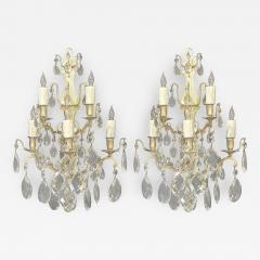 Pair of 19th C Baccarat Quality French Crystal Sconces - 378213