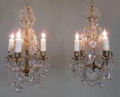 Pair of 19th C French R gence Crystal and Bronze Chandeliers - 248213