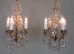 Pair of 19th C French R gence Crystal and Bronze Chandeliers - 248214