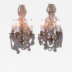 Pair of 19th C French R gence Crystal and Bronze Chandeliers - 249614