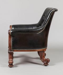 Pair of 19th Century English C Scroll Black Leather Library Armchairs - 674671
