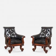 Pair of 19th Century English C Scroll Black Leather Library Armchairs - 675943