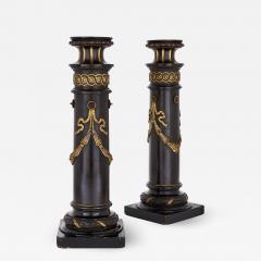 Pair of 19th Century English ebonised wood columns - 1433434