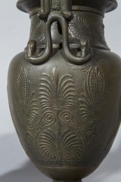 Pair of 19th Century Grand Tour Greek Bronze Volute Krater Vase Lamps - 1000000