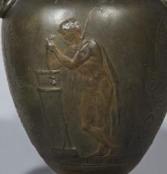 Pair of 19th Century Grand Tour Greek Bronze Volute Krater Vase Lamps - 999994