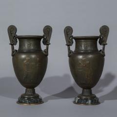 Pair of 19th Century Grand Tour Greek Bronze Volute Krater Vase Lamps - 999998