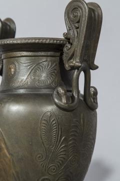 Pair of 19th Century Grand Tour Greek Bronze Volute Krater Vase Lamps - 999999