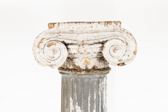 Pair of 19th Century Iron Zinc and Terracotta Ionic Capital Columns - 1134532