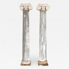 Pair of 19th Century Iron Zinc and Terracotta Ionic Capital Columns - 1135179