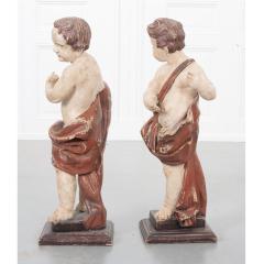 Pair of 19th Century Italian Hand Painted Putti Statues - 1931638