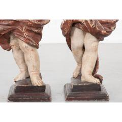 Pair of 19th Century Italian Hand Painted Putti Statues - 1931639