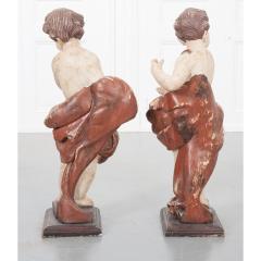 Pair of 19th Century Italian Hand Painted Putti Statues - 1931640
