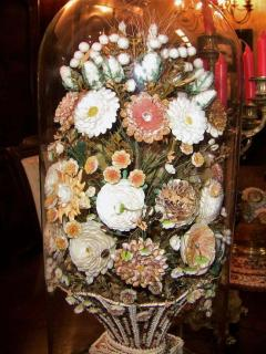 Pair of 19th Century Shell Art Floral Bouquets under Glass Domes - 1708956