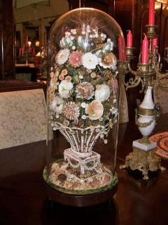 Pair of 19th Century Shell Art Floral Bouquets under Glass Domes - 1708958