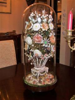 Pair of 19th Century Shell Art Floral Bouquets under Glass Domes - 1708959