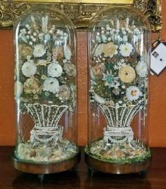 Pair of 19th Century Shell Art Floral Bouquets under Glass Domes - 1708960