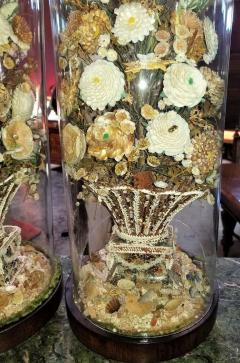 Pair of 19th Century Shell Art Floral Bouquets under Glass Domes - 1708961