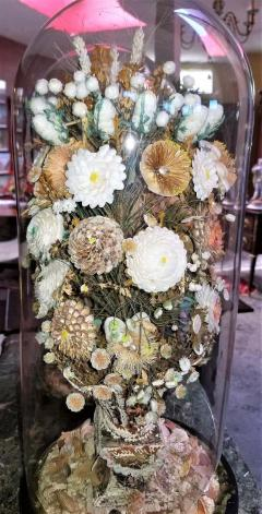 Pair of 19th Century Shell Art Floral Bouquets under Glass Domes - 1708962