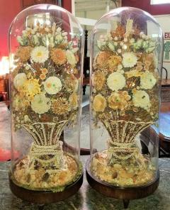 Pair of 19th Century Shell Art Floral Bouquets under Glass Domes - 1708964