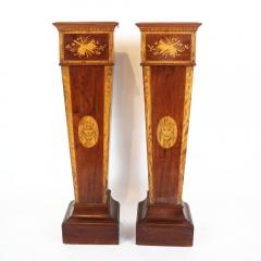Pair of 19th century Adamesque Mahogany and Olive wood Pedestals - 2120015