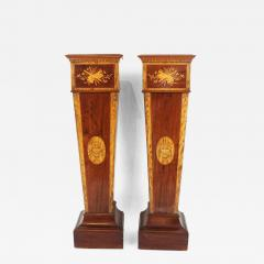 Pair of 19th century Adamesque Mahogany and Olive wood Pedestals - 2120781