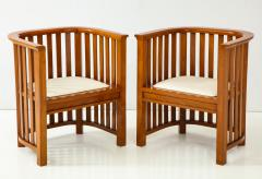 Pair of 20th Century Slatted Cherrywood Chairs - 931320