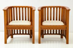 Pair of 20th Century Slatted Cherrywood Chairs - 931323