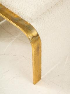 Pair of 24k Gold Gilt and Ivory Boucle Waterfall Stools or Benches Italy 1970 - 2004499